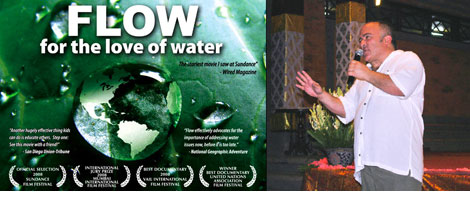Producer Steven Starr speaking at the screening of FLOW at the ARMA Resort, Ubud.